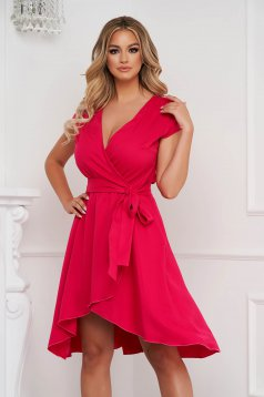 StarShinerS pink dress asymmetrical slightly elastic fabric with deep cleavage