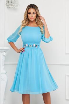 StarShinerS lightblue dress occasional midi cloche airy fabric