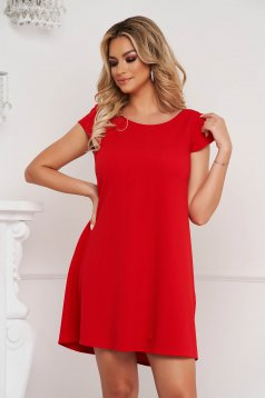 Rochie StarShinerS rosie scurta din material creponat cu croi larg si spatele decupat