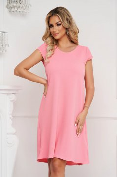StarShinerS coral dress short cut loose fit wrinkled material with cut back
