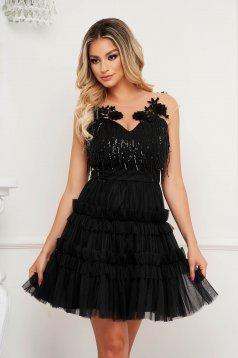 Black dress a-line occasional with sequin embellished details