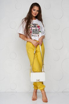 Yellow trousers thin fabric conical high waisted with pockets