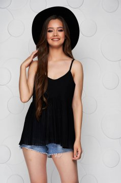Black top shirt loose fit folded up from veil fabric with straps