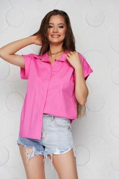 Camasa dama roz basic din poplin cu croi larg cu maneca scurta