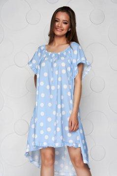 Lightblue dress dots print loose fit from elastic fabric elastic cleavage
