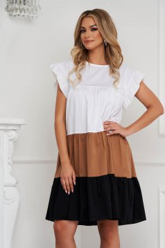 Brown dress thin fabric loose fit midi with ruffle details airy fabric