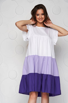 Lila dress thin fabric loose fit midi with ruffle details airy fabric