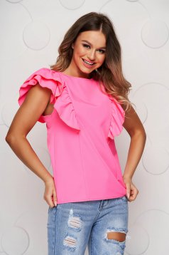 Pink women`s blouse with ruffle details bare back loose fit