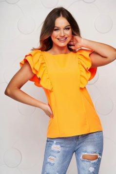Bluza dama portocalie cu volanase cu spatele decupat si croi larg