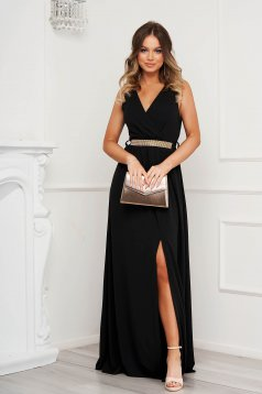 Black dress cloche occasional slit from elastic fabric with v-neckline with embellished accessories