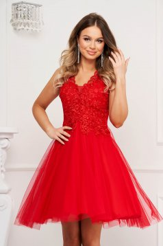 Red dress occasional cloche with push-up cups from tulle