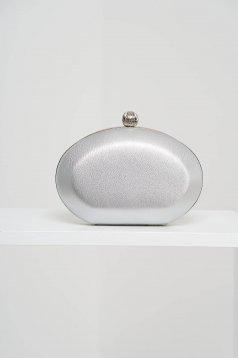 Geanta dama tip clutch argintie de ocazie din piele ecologica