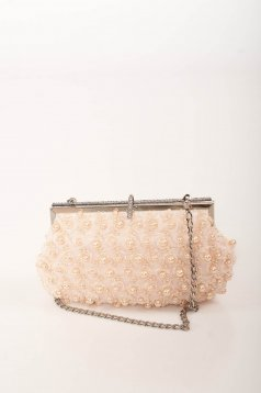 Geanta dama roz de ocazie cu lantisor detasabil si aplicatii cu perle si pietre strass
