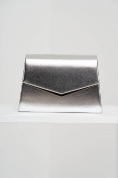 Geanta dama argintie tip plic de ocazie din piele ecologica