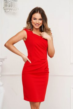 Red dress pencil occasional short cut slightly wrinkled fabric