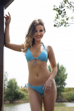 Blue swimsuit 2 pieces with push-up cups