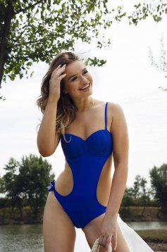 Blue swimsuit adjustable straps with push-up cups