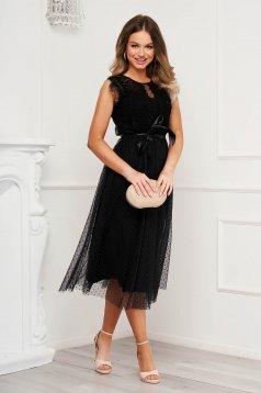 Black dress occasional midi from tulle plumeti