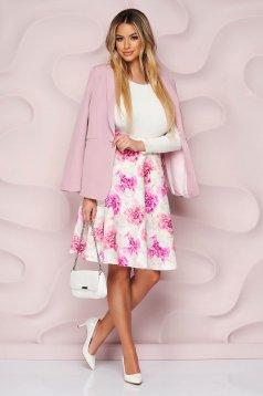 Fusta StarShinerS cu imprimeu floral roz deschis eleganta in clos material subtire