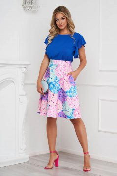 StarShinerS lila skirt elegant cloche thin fabric with floral print