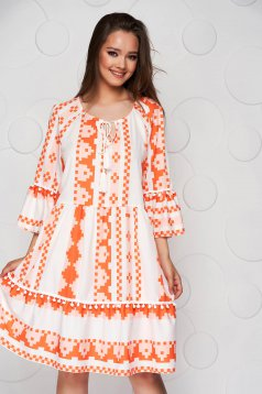 Orange dress midi loose fit airy fabric with bell sleeve