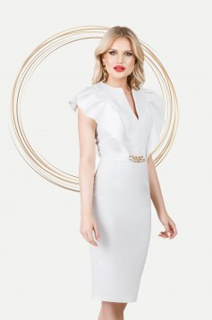 Ivory dress elegant pencil with ruffle details with metalic accessory