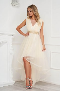 Cream dress occasional asymmetrical cloche from tulle detachable cord