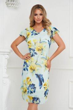 Aqua dress elegant from veil fabric a-line with ruffle details