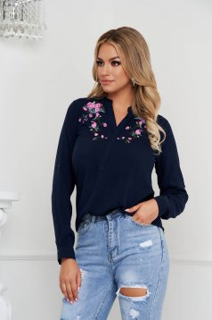 Bluza dama SunShine albastru-inchis din bumbac cu croi larg cu guler si broderie florala