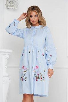 Lightblue dress midi cotton with puffed sleeves