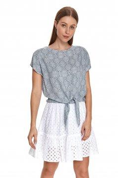 Bluza dama Top Secret albastru-inchis cu croi larg si imprimeuri grafice