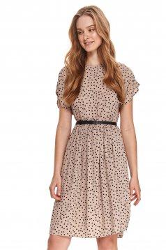 Peach dress midi loose fit dots print