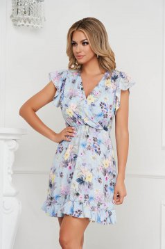 Dress short cut cloche with elastic waist airy fabric with ruffle details