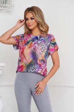 Bluza dama Lady Pandora cu croi larg din material elastic cu maneci scurte si imprimeuri grafice