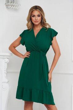 Darkgreen dress midi cloche with elastic waist airy fabric with ruffle details