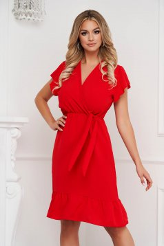 Red dress midi cloche with elastic waist airy fabric with ruffle details