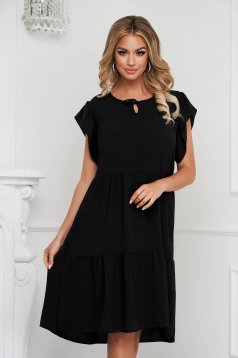 Black dress midi loose fit airy fabric with ruffle details