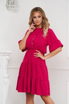 Raspberry dress midi cloche with elastic waist airy fabric with ruffle details