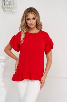 Red women`s blouse loose fit airy fabric with ruffle details