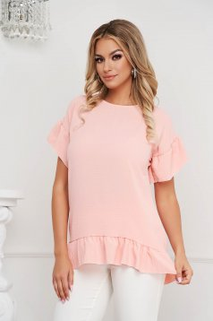 Bluza dama Lady Pandora roz deschis cu croi larg din material vaporos cu volanase