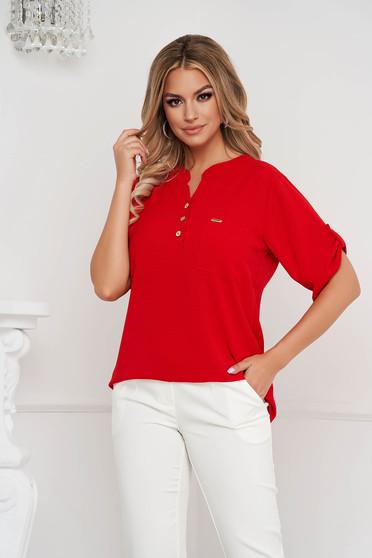 Bluza dama Lady Pandora rosie din material usor creponat cu croi larg si buzunar in fata