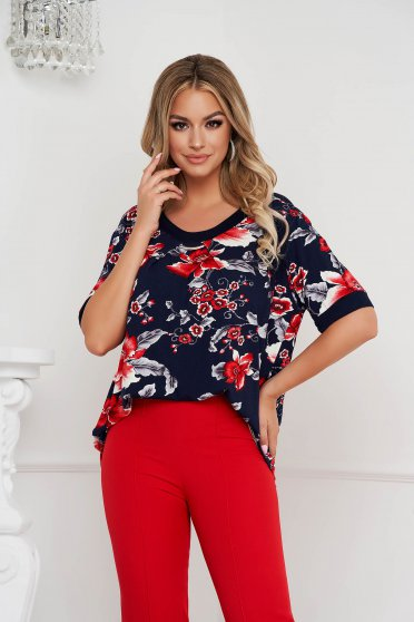 Women`s blouse elegant loose fit from elastic fabric thin fabric