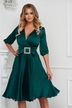 Dirty green dress elegant midi cloche from satin buckle accessory