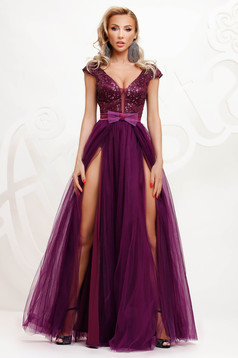 Purple dress occasional cloche from tulle with sequin embellished details