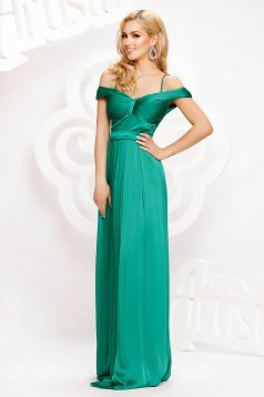 Green dress long occasional cloche from satin naked shoulders