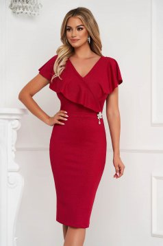 StarShinerS raspberry dress midi pencil from elastic fabric frilly trim around cleavage line
