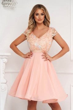 StarShinerS peach dress occasional cloche from veil fabric laced midi
