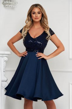 StarShinerS darkblue dress cloche midi occasional from veil fabric lace and sequins details