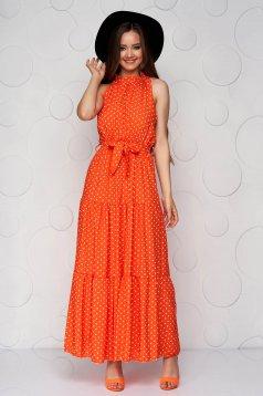 Orange dress dots print cloche airy fabric halter neck