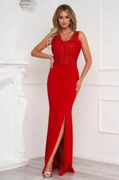 Red dress long pencil with lace details slightly elastic fabric